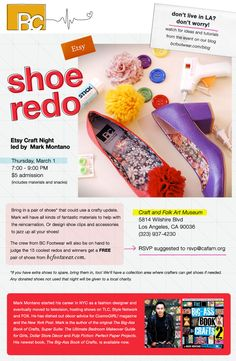 Hope you can join us next Thursday, March 1st for our Shoe Redo craft night at CAFAM!