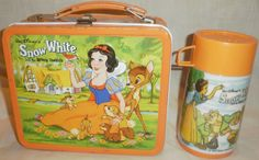 Metal lunch box and thermos (This was just like mine in 1st grade) Huge decision each school year to pick your lunchbox. :)