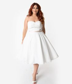 Unique Vintage x Dolly Couture Plus Size White Strapless Maryville Tea Length Wedding Dress Plus Size Brides, Plus Size Gowns, Wedding Dresses Plus Size, Plus Size Wedding, Unique Dresses, Plus Size Outfits, Bridal Dresses, Vintage Brand Clothing, Curvy Bride