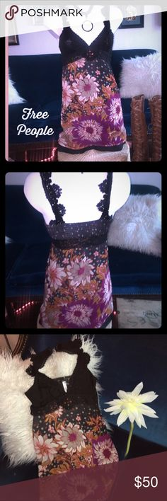 Free People 🌼 dress 🌼Free People cute dress🌼 baby doll style shell is a thin soft wool🌼fully lined w/cotton slip🌼lace and red and black crystals under bust, back is elastic 🌼knit pretty straps🌼size 4 but fits like a 2. Never been worn EXCELLENT Condition Free People Dresses