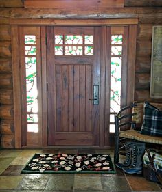 Front Door, Stained Glass, Log Cabin, cabin, entry way, slate tile, log home, rustic, craftsman door, hickory bench