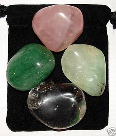 CHEST RELIEF Tumbled Crystal Healing Set - 4 Gemstones w/Description & Pouch - Aventurine, Prehnite, Quartz, and Rose Quartz. $4.99, via Etsy.
