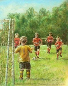 Art Soccer Print painting sports boys childrens room wall art Print,