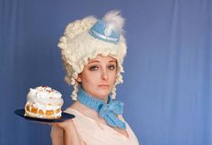 Marie in blue. Handmade yarn wig. Wighat and Collar. Adult costume.