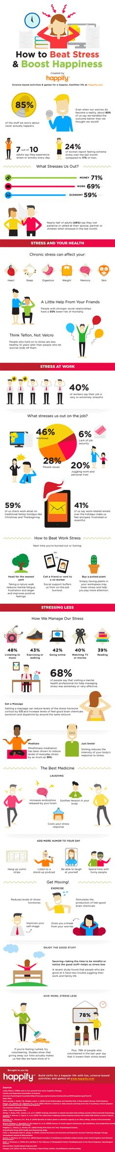 How To Be Happy And Beat Stress. Stress is harmful to anyone, but for those with anxiety, the stress can seem overwhelming. Here are some tips to manage stress and decrease anxiety. Ways To Reduce Stress, Stress Less, Stress And Anxiety, Stress Free, Stress Relief, Work Stress, Anxiety Relief, Health And Wellness, Health Tips