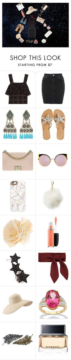 """""""Pack and go labor days"""" by kisharichardson ❤ liked on Polyvore featuring beauty, ace & jig, Topshop, Shourouk, ASPIGA, Chanel, Fendi, Casetify, Charlotte Russe and Accessorize"""
