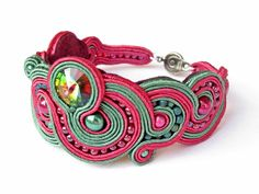 soutache bracelet with swarovski crystal vitral by EditBeadIt