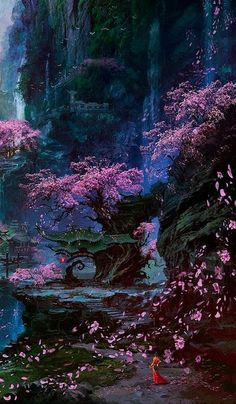 ideas for fantasy landscape nature magical forest – Landscaping 2020 Fantasy Art Landscapes, Fantasy Landscape, Fantasy Artwork, Beautiful Landscapes, Landscape Artwork, Fantasy Concept Art, Fantasy Places, Fantasy World, Fantasy Forest
