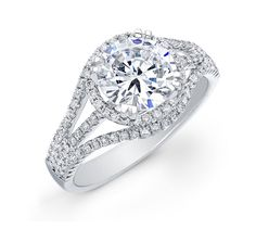 Triple Split Shank Diamond Halo Engagement Ring ~ www.touchofgold.com