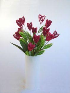 Aprende cómo hacer un hermoso arreglo de flores con tiras de papel ~ Mimundomanual