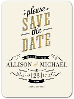"""This Save The Date for a Bronx Wedding. I like the """"please"""" and location fonts. This is by Wedding Paper Divas – affordable, trustworthy and surprisingly chic."""