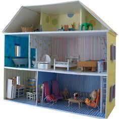 Cette maison de 5 pièces sur 3 niveaux est construite en carton plume. (Dim L 65cm P 25cm H 58 cm.