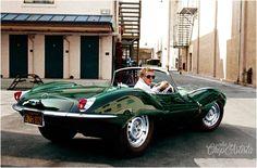 Steve McQueen and his Jaguar XKSS. 1963