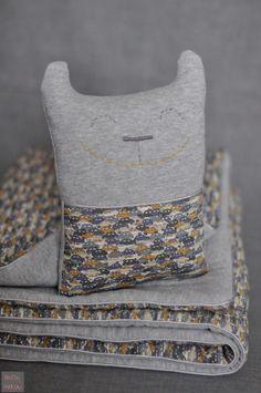 Couverture en jersey et liberty cars et son doudou assorti by fikOu miKou
