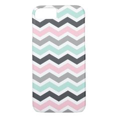 Pink Teal Black Gray Zigzag Chevron Pattern iPhone 7 Case