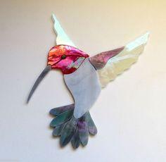 HUMMINGBIRD Precut Stained Glass Art Kit Mosaic Inlay. Many original designs selling on ebay.