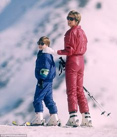 Prince William and Princess Diana Skiing Holiday in Lech, Austria, in 1991...