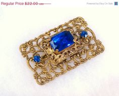 On Sale Vintage Brooch Antiqued Gold Tone Brass by VintiqueJools, $19.80