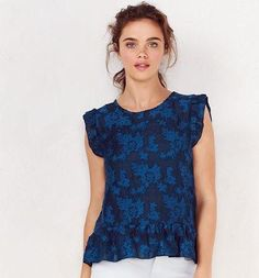 Lc Lauren Conrad Floral Jacquard Peplum Top in Reflecting Pond as seen on Lauren Conrad