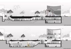 Picture 18 of 20 Gallery SMF Architects proposes a new arts center and large public spaces downtown Seoul. Cortes / longitudinal sections Mt Design, Urban Design, Concept Architecture, Facade Architecture, Seoul, Landscape Model, Modelos 3d, Architectural Section, Public Spaces