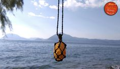 Macrame healing pouch with a citrine stone macrame pendant