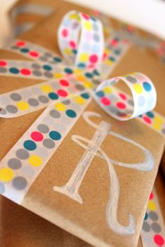 Washi tape christmas wrapping