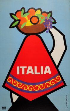 Italia art Vintage old Travel Poster Print painting for Glass Frame Vintage Italian Posters, Art Vintage, Photo Vintage, Poster Vintage, Vintage Travel Posters, Tourism Poster, Poster Ads, Poster Prints, Travel Illustration