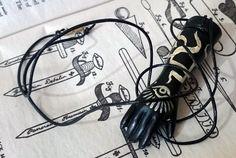 Black hand pendant necklace jewelry www.etsy.com/uk/shop/chrisrichfordart