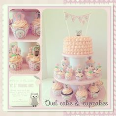 Owl cake & cupcakes with diy cupcake liner matching with birthday invitation :)  Like my pages www.facebook.com/myglorioustreats