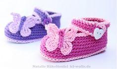 Baby-Schuhe mit Schmetterling selber häkeln