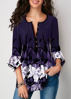 Trendy Tops For Women, Stylish Tops, Blouses For Women, Modelos Fashion, Purple Outfits, Pretty Outfits, Cute Outfits, Flower Fashion, Blouse Styles