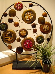 Free standing fused glass and metal sculpture by LynHunterDesigns,