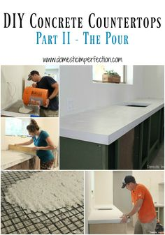DIY Concrete Countertops, Part II – The Pour DIY white concrete countertops – detailed tutorial, a must read if you have ever thought about pouring your own countertops! White Concrete Countertops, Kitchen Countertops, Concrete Cement, Stained Concrete, Concrete Floors, White Granite, Reinforced Concrete, Kitchen Ikea, Kitchen Redo