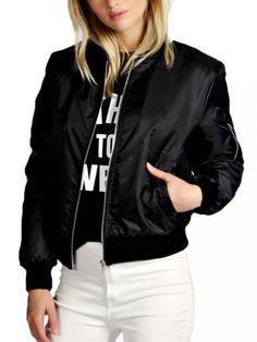 Women Stand Collar Zipper Pocket Long Sleeve Sport Jacket
