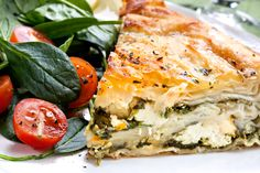 Serve this with a selection of fresh salad dishes and new potatoes. SERVES 4-6 40g butter 6 sheets filo pastry 400g baby leaf spinach, roughly torn 250g feta cheese, crumbled 1/4 teaspoon nutmeg se...