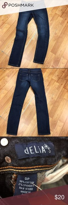 Delia's Jayden Skinny Jeans 0P Delia's Jayden Skinny Jeans 0P  Light pulling at stride - very slight.  Two button closure.  Five pocket style.  Size is 0P.  Very good used condition.  Some stretch.  #jayden #jeans #skinny #petite #blue #denim #0P Delia*s Jeans Skinny