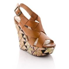 Take a look at this Cognac Tribal Diane Wedge by ShoeMint on today! Cute Shoes, Me Too Shoes, Christian Louboutin, Crazy Shoes, Swagg, Beautiful Shoes, Shoe Collection, Girls Shoes, Wedges