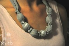 *covered bead necklace tutorial - reader submission | Little Birdie Secrets. uses chiffon or other lightweight fabric, and has a beaded chain wrapped/sewn into it. pretty!