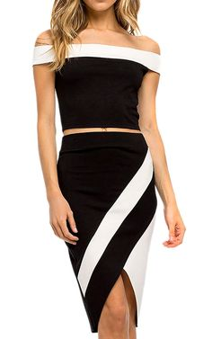 Ecowish Womens Strapless Crop Top and Midi Skirt Outfit Two Piece Bodycon Dress -- Don't get left behind, see this great  product : summer fashion