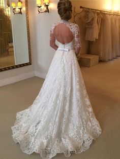 Open Back A-line High Neck Lace Sweep Train Sashes / Ribbons Long Sleeve Wedding Dresses