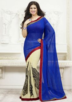 Visual presents this blue colored saree, which will make you look striking and stunning. Made of georgette, this saree is easy to cover and comfortable to wear as well. Visit : http://imitty.com/product/mesmerising-designer-printed-saree/