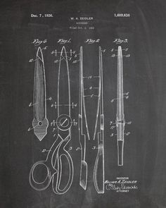 You will love this unique archive print of a 1926 Scissors patent, presented as a vintage industrial or steampunk style drawing. It is part of our curated collection of the most unique, novel and eleg Chalkboard Decor, Chalkboard Print, Industrial Artwork, Vintage Industrial, Industrial Style, Vintage Scissors, Patent Drawing, Vintage Wall Art, Patent Prints