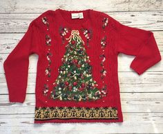 Women's Ugly Cute Christmas Sweater Size LARGE Fashion Bug Tree Red Embroidery #FashionBug #Crewneck #Christmas