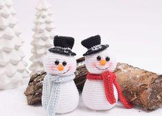 Hæklet snemand. Gratis hækleopskrift på hæklet snemand. Hækleopskrifter på julepynt. Gratis hækle opskrifter og inspiration.