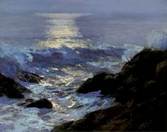 Edward Henry Potthast (1857 - 1927), Seascape Moonlight