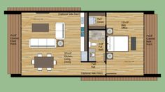 Modern Style House Plan - 1 Beds 1 Baths 700 Sq/Ft Plan #474-8 Floor Plan - Main…