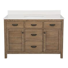 Home Decorators Collection Stanhope 49 in. W x 22 in. D Vanity in Reclaimed Oak and Engineered Stone Vanity Top in Creamed Coffee with White Sink-SNOVT4922D - The Home Depot