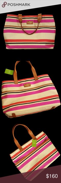 "Kate Spade Oak Island Stripe Magazine Tote NWT Beautiful NWT Kate Spade Oak Island Stripe Magazine Tote Bag Open top tote with leather plaque logo on front 9"" drop double rolled leather handles, 3 large exterior pockets (1 has hidden snap closure), 2 leather stripes on bottom Color/Pattern: Natural cream canvas with hot pink, red, and black stripes with cognac leather accents Interior includes 2 slip pockets, 1 zippered pocket, custom woven signature Kate Spade lining in beige Measurements…"