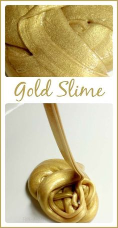 Best DIY Slime Recipes - DIY Super Easy Gold Slime - Cool and Easy Slime Recipe Ideas Without Glue, Without Borax, For Kids, With Liquid Starch, Cornstarch and Laundry Detergent - How to Make Slime at Home - Fun Crafts and DIY Projects for Teens, Kids, Te