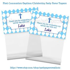 First Communion Baptism Christening Treat Bag Topper Party Favor Party Printable